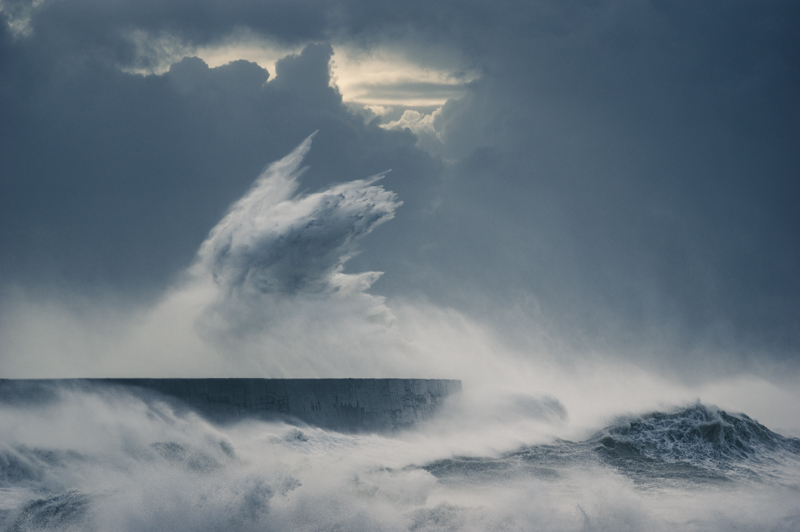 Waves crashing against sea defence, Newhaven, West Sussex