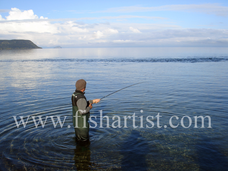 Hooked Taupo Trout! - Trout Fishing - Taupo New Zealand.