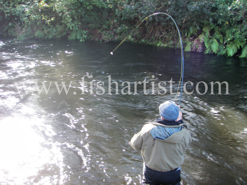 Taupo River Hookup. - Trout Fishing - Taupo New Zealand.