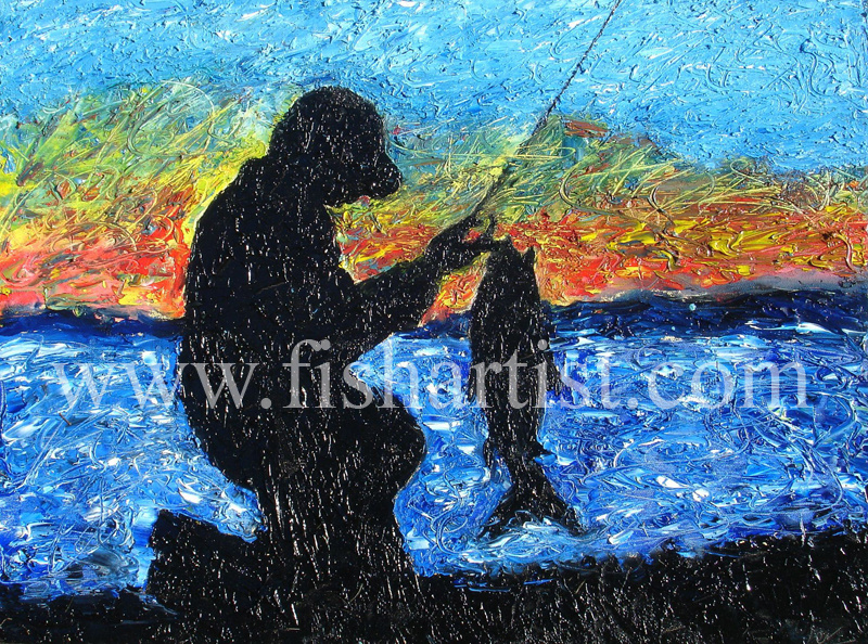 Taupo Fisherman and a Trout. - Fish Art for Fishermen.
