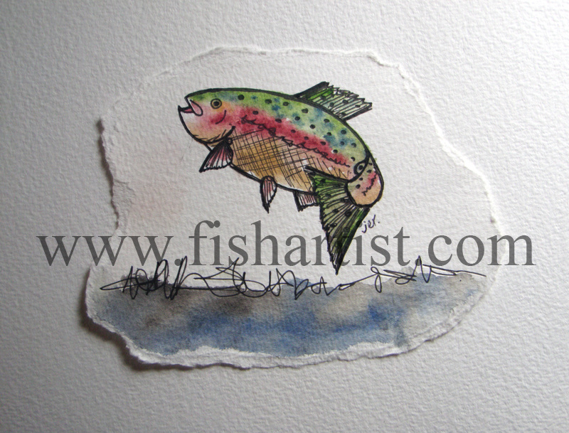 Taupo Leaping Hen Watercolour. - Watercolours of Taupo Trout.