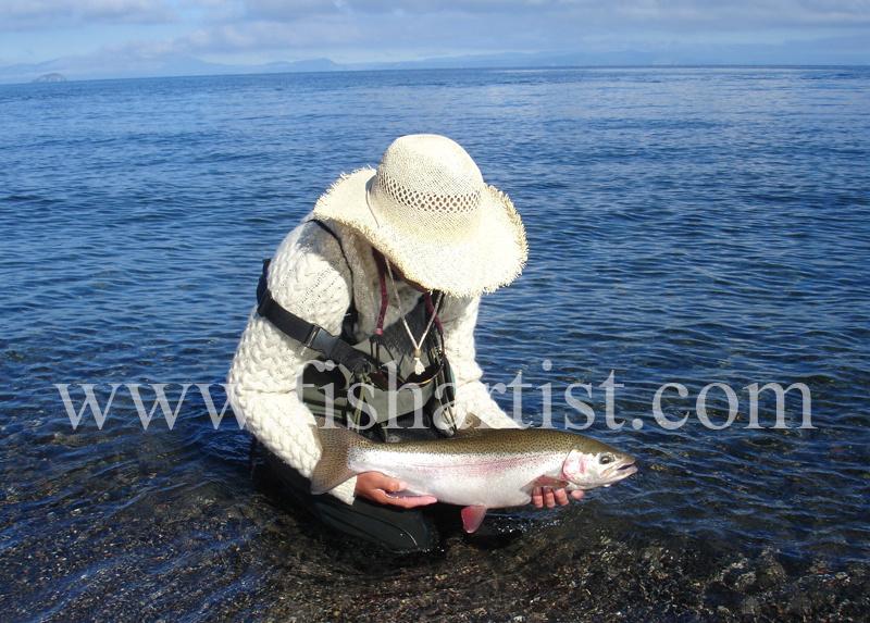 Summer at Waitahanui Rip. - Trout Fishing - Taupo New Zealand.