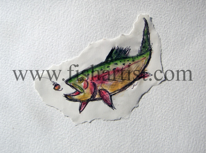 Taupo Trout Chasing a Glo Bug Watercolour. - Watercolours of Taupo Trout.