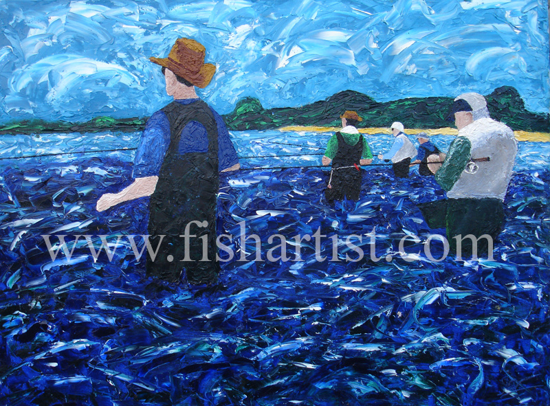 Fisherman at Waitahanui Rip. - Fish Art for Fishermen.