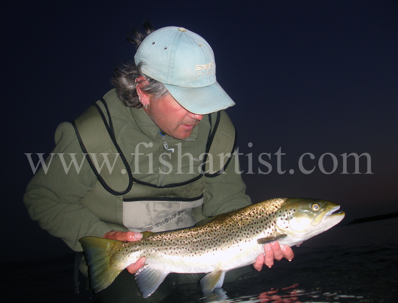 6.5lb Early Morning Taupo Brown Trout. - Trout Fishing - Taupo New Zealand.