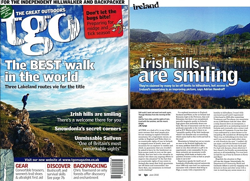 'Irish hills are smiling' - TGO - June 2010 - In the media