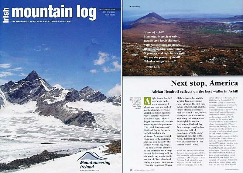 'Next stop, America' - Irish Mountain Log - No.90 Summer 2009 - In the media