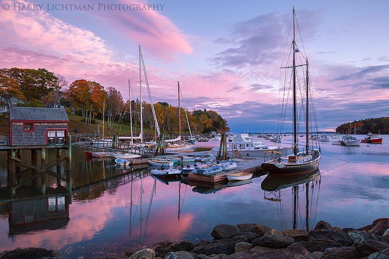 Autumn Blush - Rockport Harbor - Maine Coast & Mountains