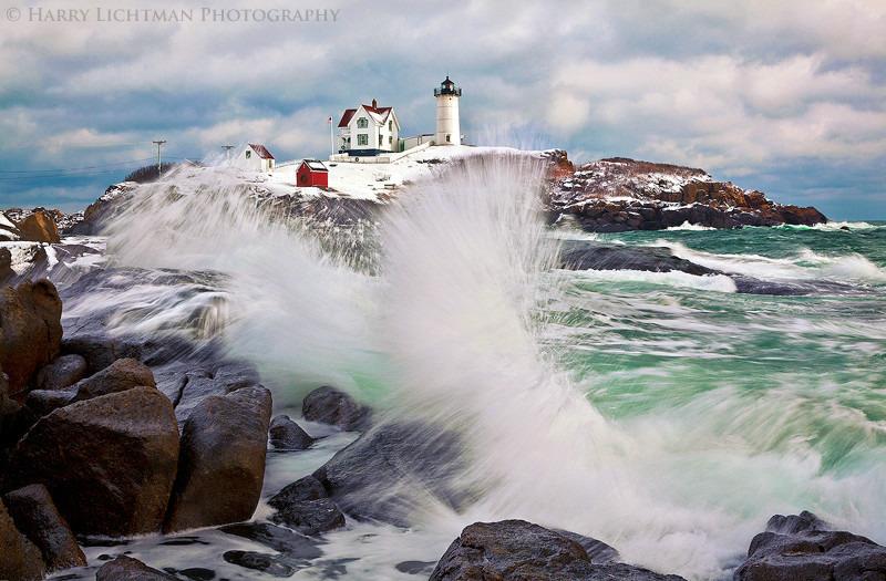 Nubble Light - Storm Surge - Maine Coast & Mountains