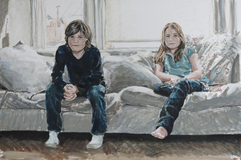 Portrait of a brother and sister, oil on canvas
