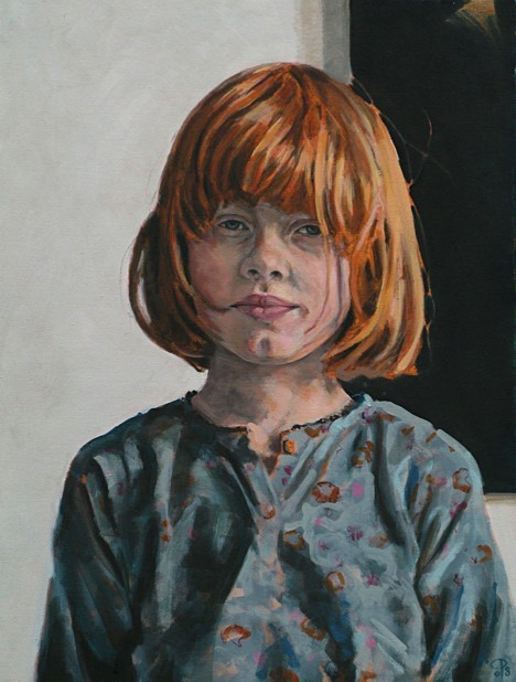 Portrait painting of a girl in oil on canvas