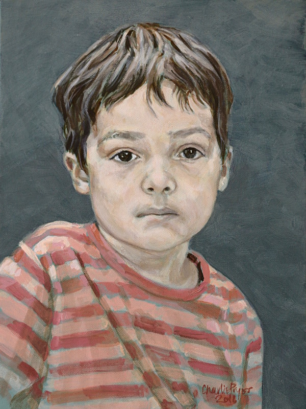 Portrait of a young boy in oil on canvas