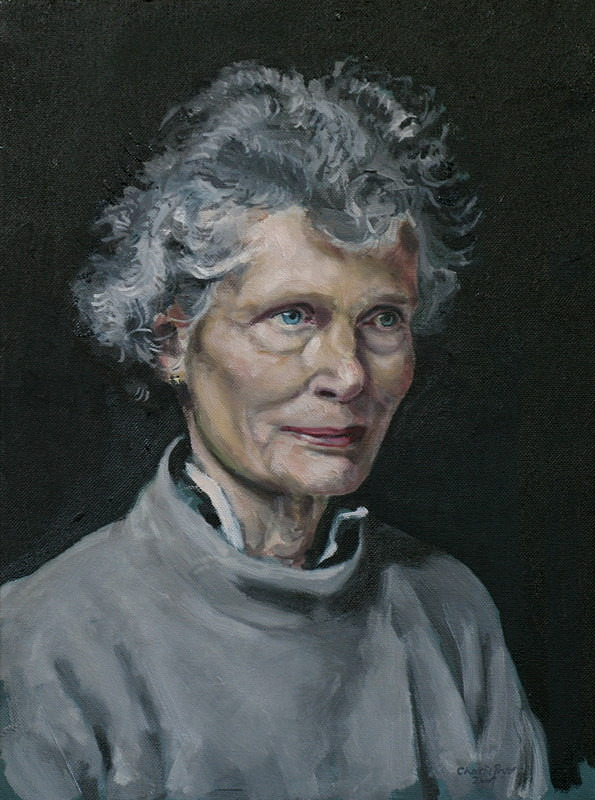 Portrait painting of a woman in oil on canvas
