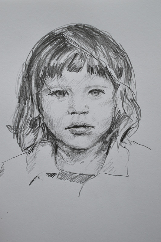 Portrait drawing of a child, pencil on paper