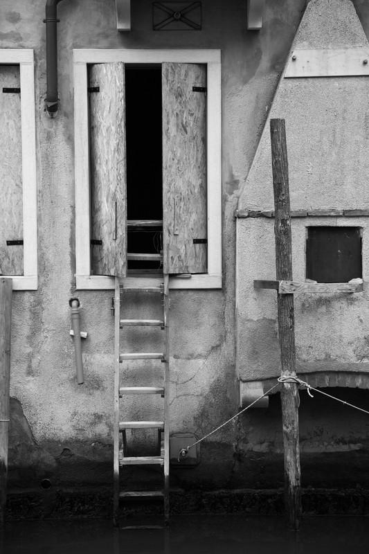 Ladder And Door. - Monochrome
