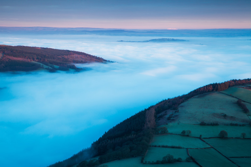Mist in the valleys in the Brecon Beacons National Park, Wales.