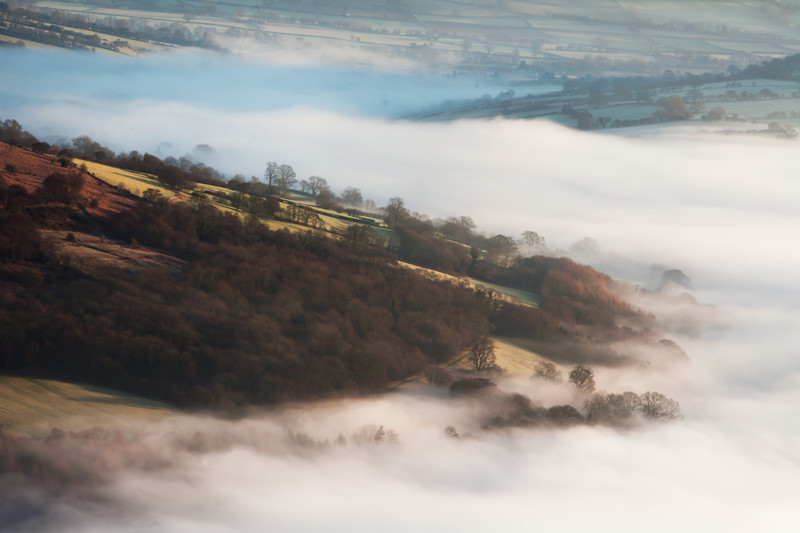 Morning mist in the Usk valley, Wales.