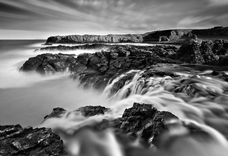 Dunseverick Sea Waterfall - Black & White