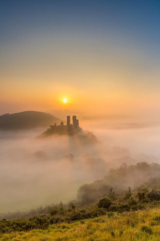 Castle in the Mist - Corfe Castle, Dorset - Dorset Landscapes