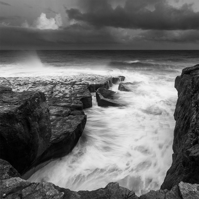 Portland Bill incoming tide - March 2013 - Black & White Scenic