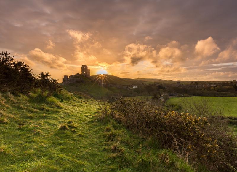 Corfe Castle, St Georges Day Sunrise, Dorset - Dorset Landscapes