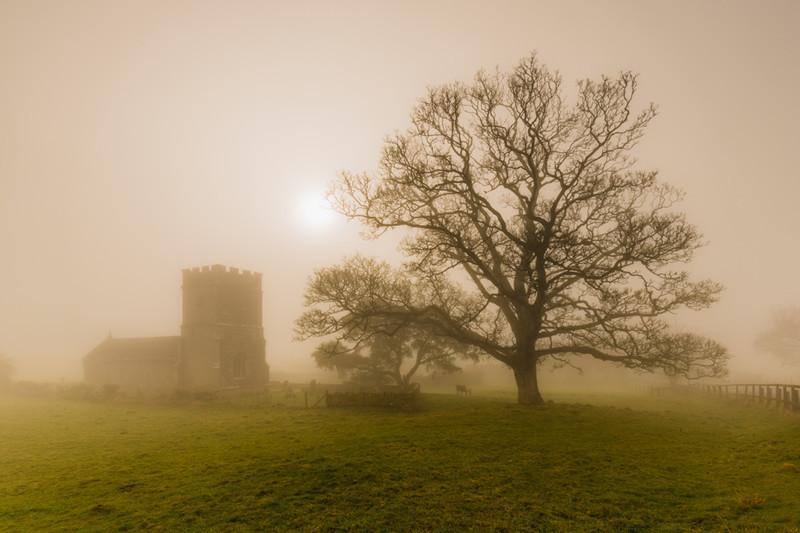 Whitcombe Church Mist, Dorset - Dorset Landscapes