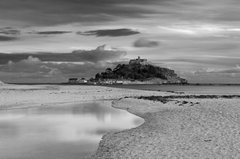 St Michael's Mount, Cornwall - Black & White Scenic