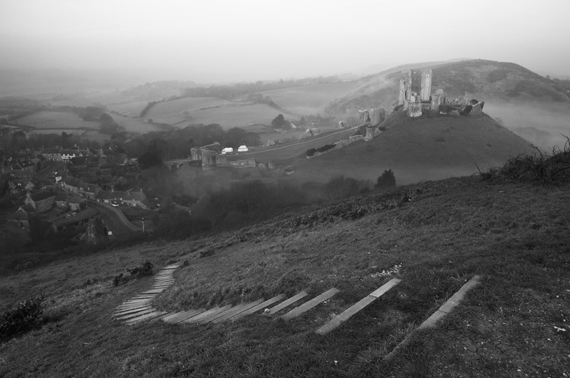 Corfe Castle on a Misty Morning - Black & White Scenic