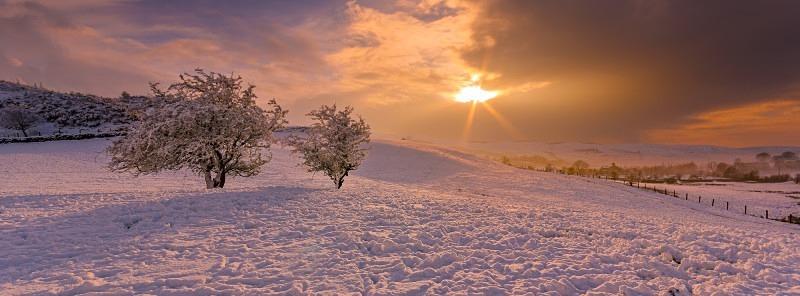 Snowy Sunset - Panorama