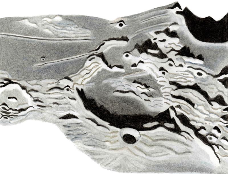 Drawing of Gutenberg crater - Milan Blazek's Ink Drawings