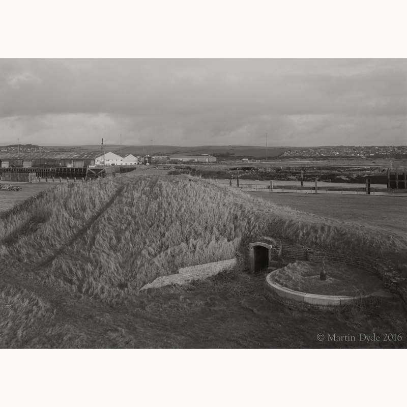 Newhaven Fort defences, with Newhaven Harbour | The Silver Monochrome: black-and-white film photography by Martin Dyde
