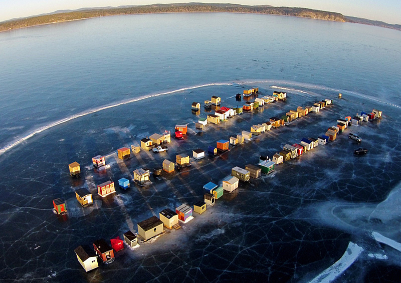Renforth Ice Fishing Village Rothesay New Brunswick Canada Aerial View - Ice Shacks