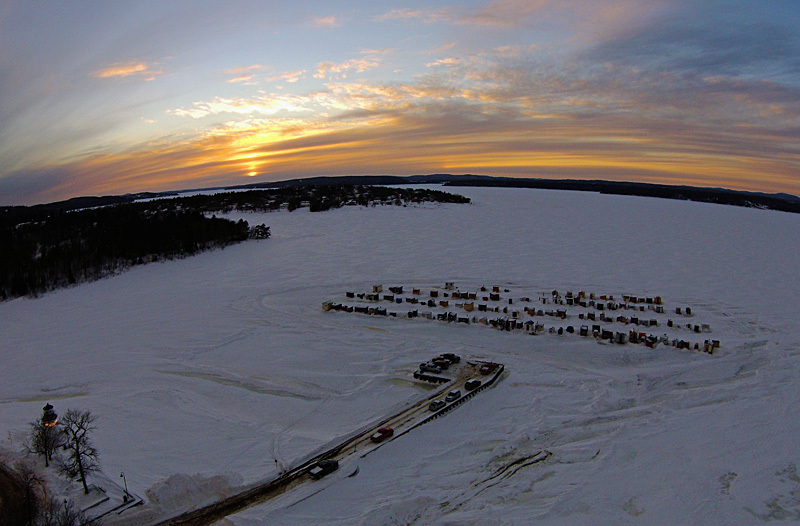 Renforth Sunset Ice Shacks Rothesay NB Canada - Sunset/Moonrise