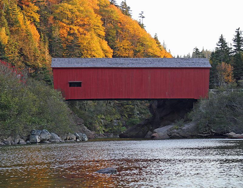 New Brunswick Autumn Foliage - Point Wolfe Covered Bridge - New Brunswick Autumn Foliage