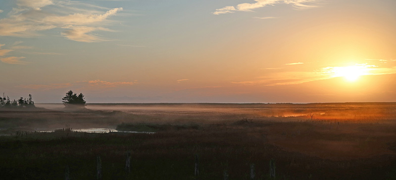 Fundy Salt Marsh St. Martins New Brunswick Canada - Sunset/Moonrise