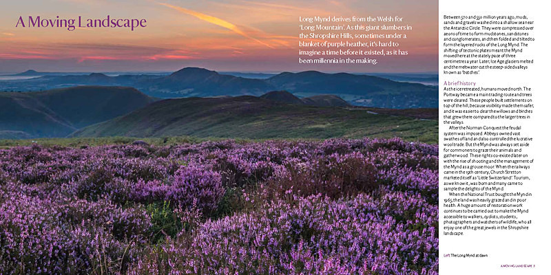Sample spread Long Mynd Guide Book page 3 - National Trust Long Mynd Guidebook