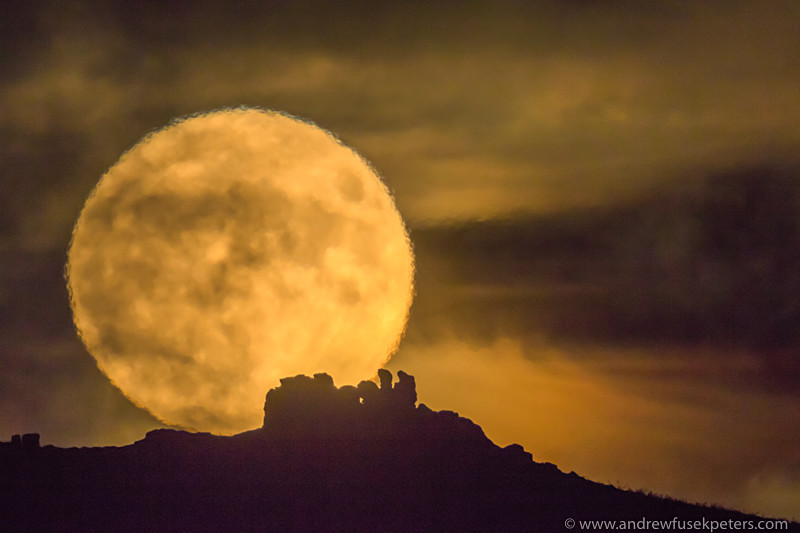 the supermoon rising over three fingers rock, Caer Caradoc - Showcase