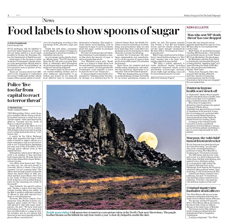 full moon rising from Devil's Chair Page 2 Daily Telegraph - Media & Awards