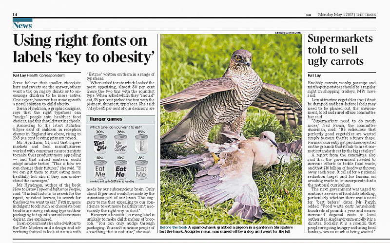 Sparrowhawk in the Times - Media & Awards