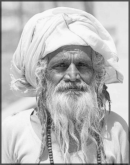 Old Man (Black and white) - India (Assam, Brahmaputra cruise, Agra and Jaipur)