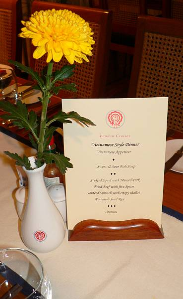 RV Mekong Pandaw dinner menu - Cambodia and Vietnam
