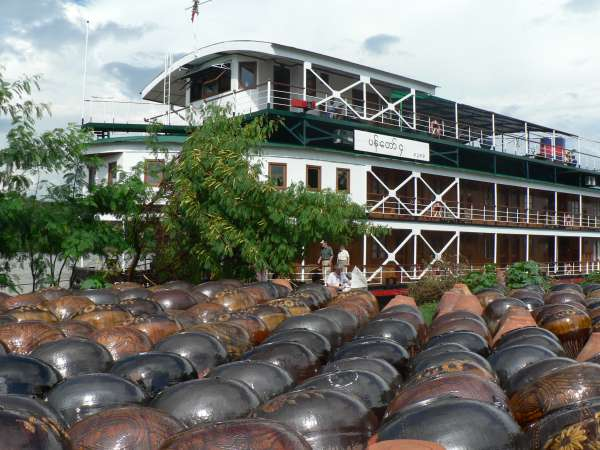 Giant jars on the banks of the Irrawaddy - Burma