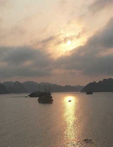 Sunset, Halong Bay - Cambodia and Vietnam