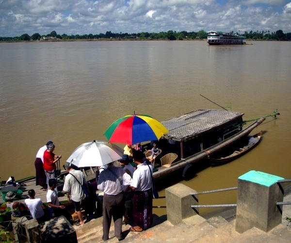 Passengers board country boat for the Pandaw - Burma