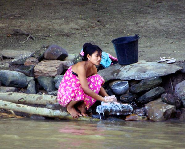 Washing clothes in the Irrawaddy - Burma