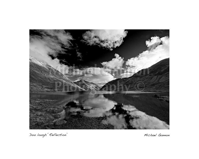 Doo Lough Reflection - Landscape Black and White
