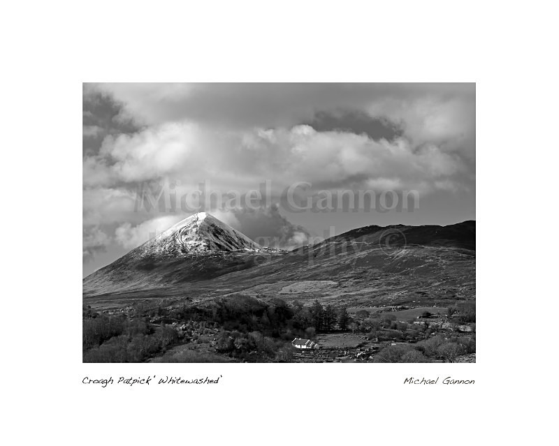 Croagh Patrick Whitewashed - Landscape Black and White
