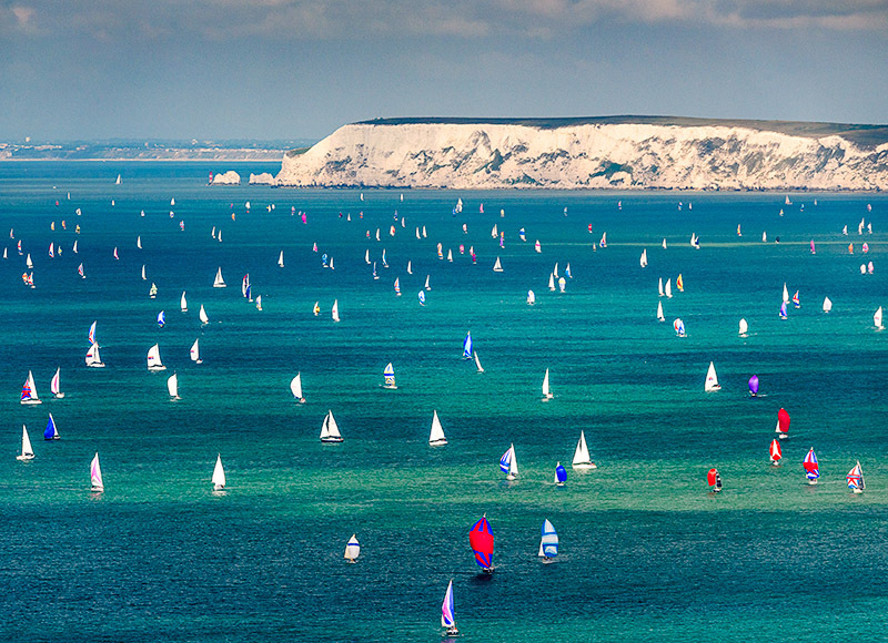 1882 Round the Island Race - Alum Bay and The Needles landscapes