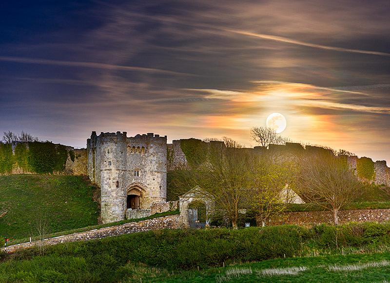 1832 Moonrise Carisbrooke Castle - Cowes, Newport and Carisbrooke landscapes