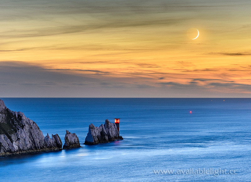 1907-Crescent-Moonset-The-Needles - Alum Bay and The Needles landscapes